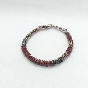 Jewelry - Men's Sterling Silver and Red Discs Bracelet, Bent